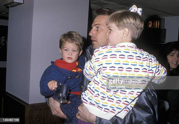 Actor Kevin Costner son Joe Costner and daughter Lily Costner attend the Moscow Circus Opening Night Performance on March 14 1990 at the Great...