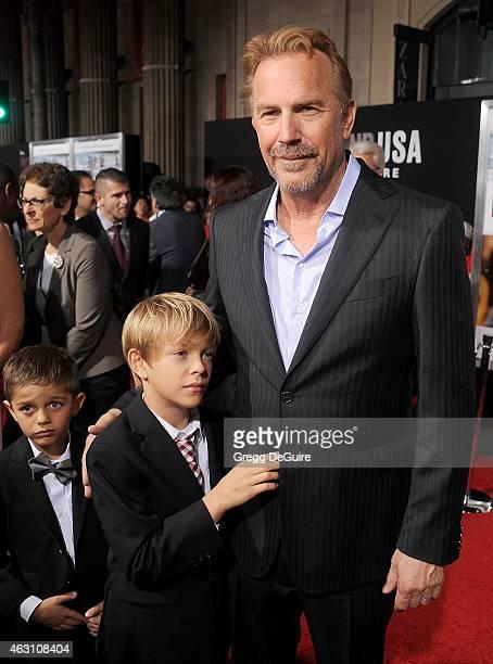 Actor Kevin Costner sons Hayes Logan Costner and Cayden Wyatt Costner arrive at the World Premiere of Disney's McFarland USA at the El Capitan...