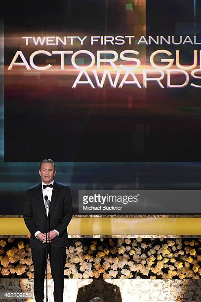 Actor Kevin Costner speaks onstage during TNT's 21st Annual Screen Actors Guild Awards at The Shrine Auditorium on January 25 2015 in Los Angeles...