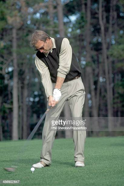 Actor Kevin Costner teeing off during the ATT Pebble Beach National ProAm Golf Tournament held at the Pebble Beach Golf Links California circa...