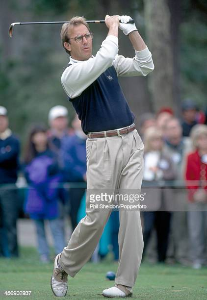 Actor Kevin Costner tracking his tee shot during the ATT Pebble Beach National ProAm Golf Tournament held at the Pebble Beach Golf Links California...