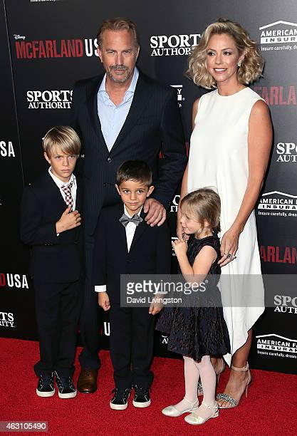 Actor Kevin Costner wife Christine Baumgartner and children attend the premiere of Disney's 'McFarland USA' at the El Capitan Theatre on February 9...