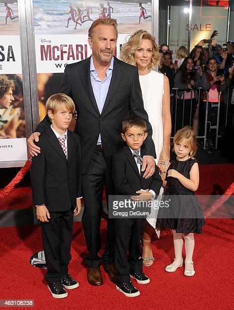 Actor Kevin Costner wife Christine Baumgartner and children Grace Avery Costner Hayes Logan Costner and Cayden Wyatt Costner arrive at the World...