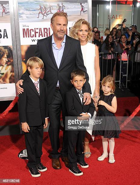 Actor Kevin Costner wife Christine Baumgartner and children Grace Avery Costner Hayes Logan Costner and Cayden Wyatt Costner arrive at the World...
