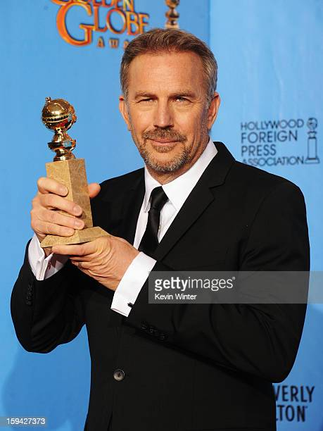 Actor Kevin Costner winner of Best Actor in a MiniSeries or a Motion Picture Made for Television for Hatfields McCoys poses in the press room during...