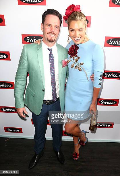 Actor Kevin Dillon and model Ashley Hart pose at the Swisse Marquee on Oaks Day at Flemington Racecourse on November 5 2015 in Melbourne Australia