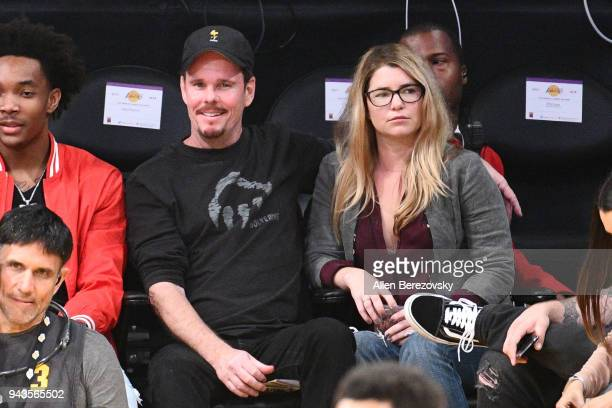 Actor Kevin Dillon attends a basketball game between the Los Angeles Lakers and the Utah Jazz at Staples Center on April 8 2018 in Los Angeles...