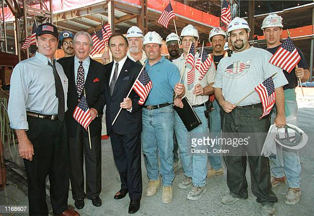 Actor Kevin Dobson President of the Building and Construction Trades Council Edward Malloy actor Tony Lo Bianco attend a gathering of Veterans of...