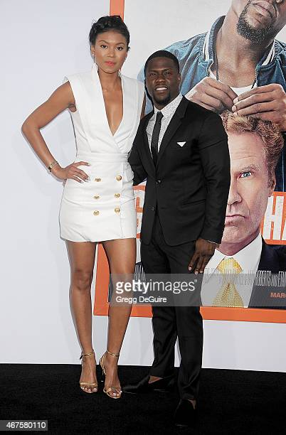 Actor Kevin Hart and Eniko Parrish arrive at the Los Angeles premiere of Get Hard at TCL Chinese Theatre IMAX on March 25 2015 in Hollywood California