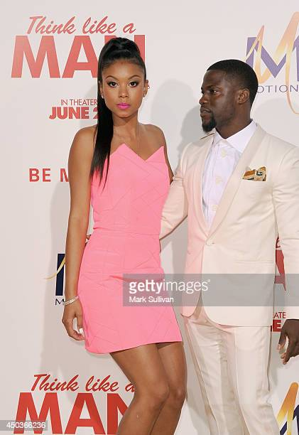 Actor Kevin Hart and Eniko Parrish arrive for the premiere of Think Like A Man Too at TCL Chinese Theatre on June 9 2014 in Hollywood California