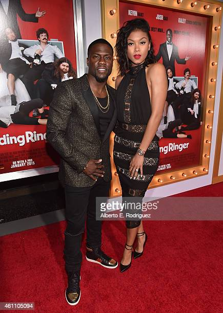 Actor Kevin Hart and Eniko Parrish arrive to the premiere of Screen Gems' The Wedding Ringer at the TCL Chinese Theatre on January 6 2015 in...