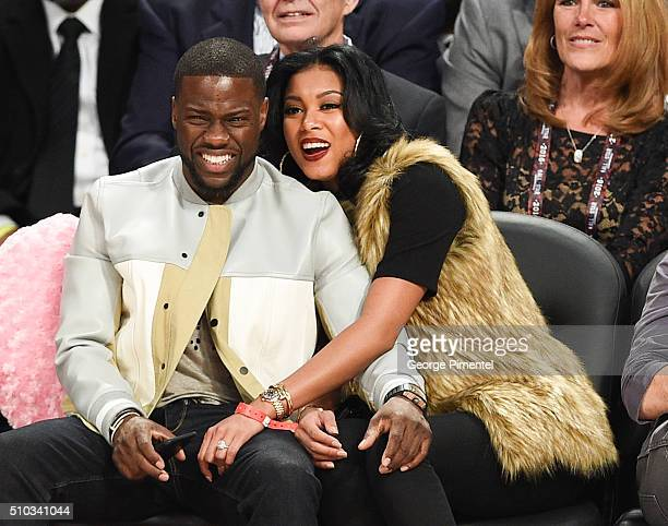 Actor Kevin Hart and Eniko Parrish attend the 2016 NBA AllStar Game at Air Canada Centre on February 14 2016 in Toronto Canada