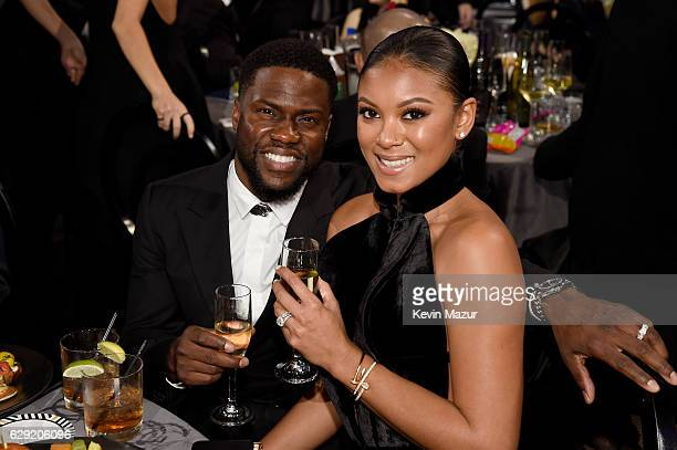 Actor Kevin Hart and Eniko Parrish attend The 22nd Annual Critics' Choice Awards at Barker Hangar on December 11 2016 in Santa Monica California
