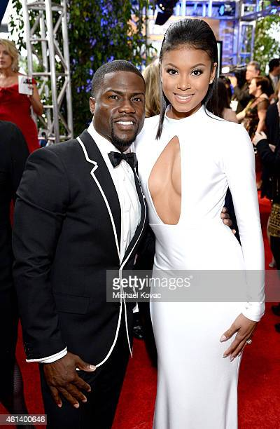 Actor Kevin Hart and Eniko Parrish attend the 72nd Annual Golden Globe Awards at The Beverly Hilton Hotel on January 11 2015 in Beverly Hills...