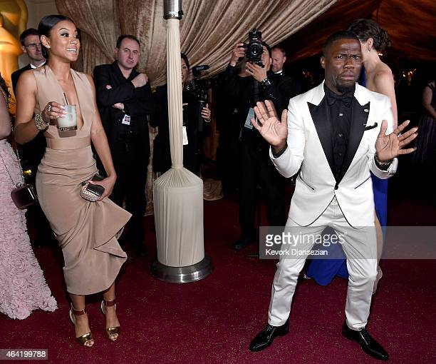 Actor Kevin Hart and Eniko Parrish attend the 87th Annual Academy Awards Governors Ball at Hollywood Highland Center on February 22 2015 in Hollywood...