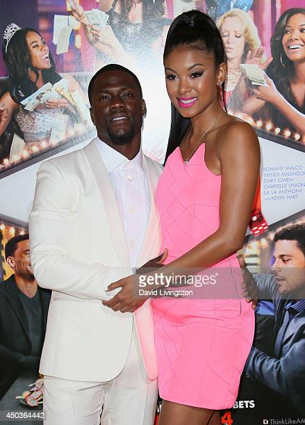 Actor Kevin Hart and Eniko Parrish attend the premiere of Screen Gems' Think Like a Man Too at the TCL Chinese Theatre on June 9 2014 in Hollywood...