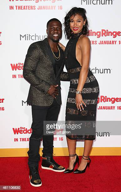 Actor Kevin Hart and Eniko Parrish attend the premiere of Screen Gems' The Wedding Ringer at the TCL Chinese Theatre on January 6 2015 in Hollywood...