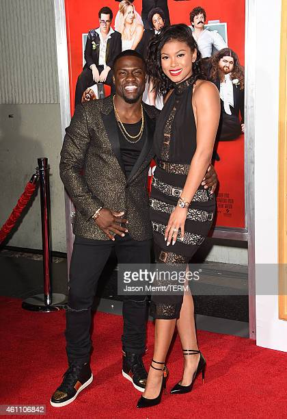 Actor Kevin Hart and his girlfriend Eniko Parrish attend the premiere of 'The Wedding Ringer' at TCL Chinese Theatre on January 6 2015 in Hollywood...