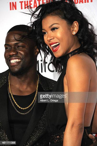 Actor Kevin Hart and model/fiance Eniko Parrish arrive for the Premiere Of Screen Gems' The Wedding Ringer held at TCL Chinese Theatre on January 6...