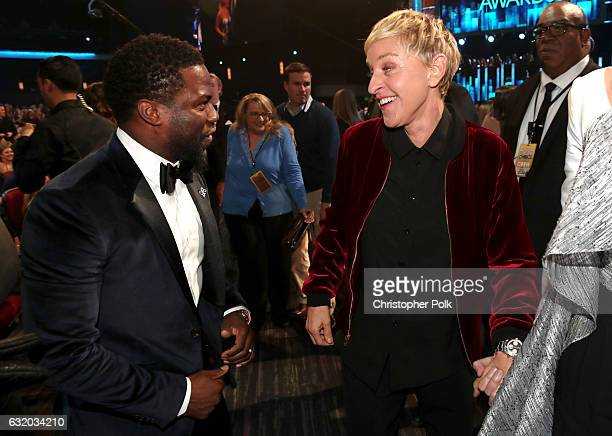 Actor Kevin Hart and TV personality/actress Ellen DeGeneres attend the People's Choice Awards 2017 at Microsoft Theater on January 18 2017 in Los...