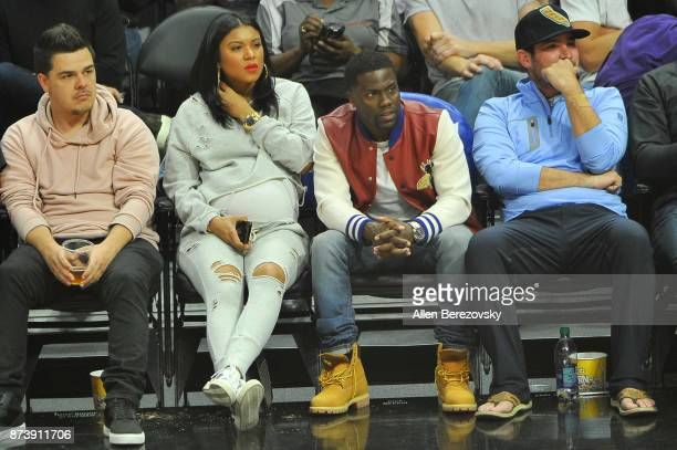 Actor Kevin Hart and wife Eniko Parrish attend a basketball game between the Los Angeles Clippers and the Philadelphia 76ers at Staples Center on...