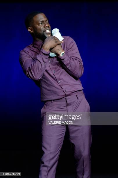 Actor Kevin Hart appears on stage during the CinemaCon Universal Pictures special presentation at the Colosseum Caesars Palace on April 3 in Las...