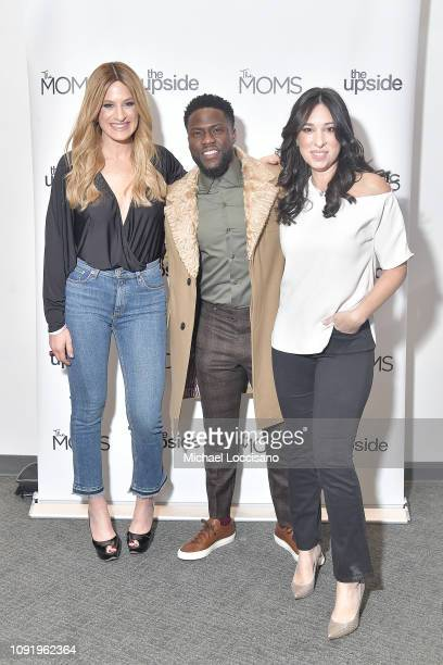 Actor Kevin Hart poses with Melissa Musen Gerstein and Denise Albert before the MOMS release of The Upside at the New York Institute of Technology on...