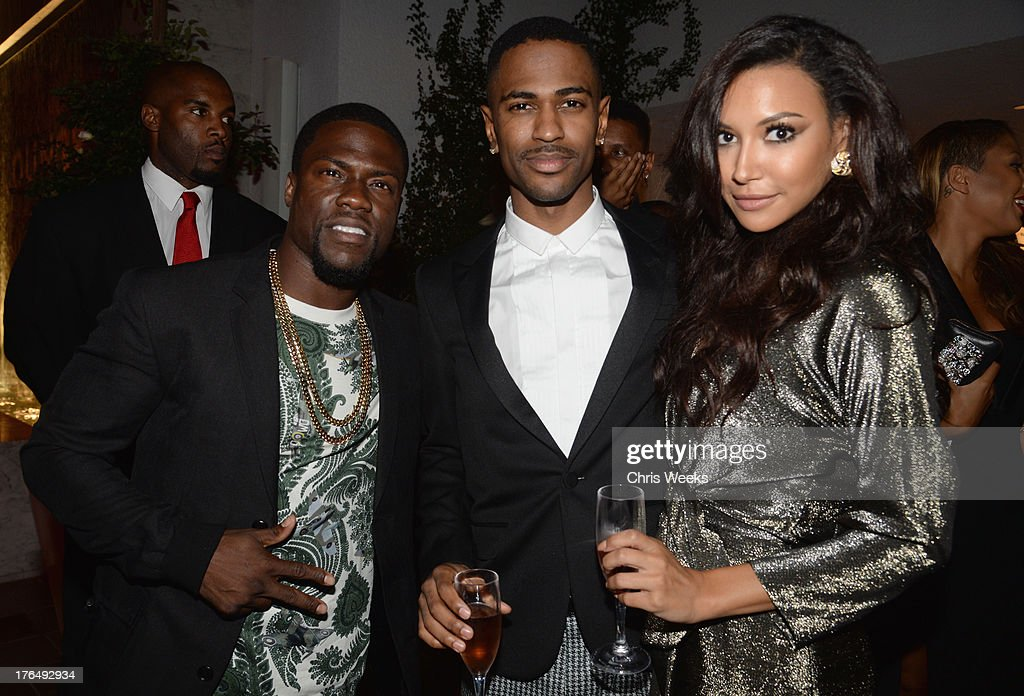 Actor Kevin Hart, recording artist Big Sean and actress Naya Rivera attend Moet Rose Lounge Los Angeles hosted by Big Sean at The London West Hollywood on August 13, 2013 in West Hollywood, California.