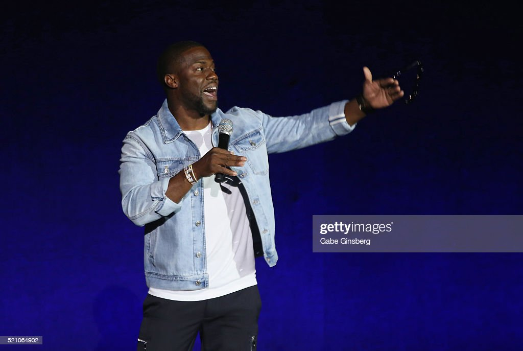 Actor Kevin Hart speaks during Universal Pictures' exclusive presentation highlighting its summer of 2016 and beyond at The Colosseum at Caesars Palace during CinemaCon, the official convention of the National Association of Theatre Owners, on April 13, 2016 in Las Vegas, Nevada.