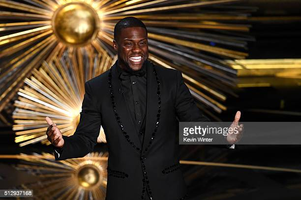 Actor Kevin Hart speaks onstage during the 88th Annual Academy Awards at the Dolby Theatre on February 28 2016 in Hollywood California