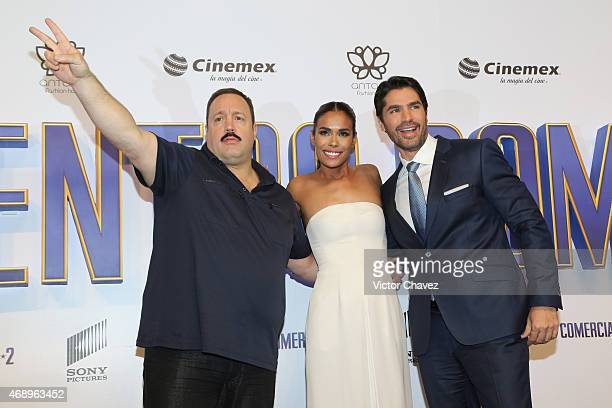 "Actor Kevin James, actress Daniella Alonso and actor Eduardo Verastegui attend the ""Paul Blart: Mall Cop 2"" Mexico City advance screening at Cinemex..."