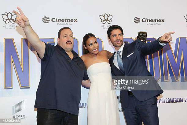 Actor Kevin James actress Daniella Alonso and actor Eduardo Verastegui attend the Paul Blart Mall Cop 2 Mexico City advance screening at Cinemex...
