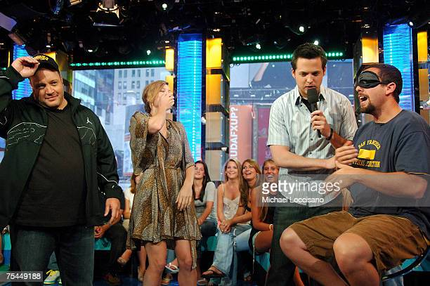 Actor Kevin James actress Jessica Biel MTV VJ Damien Fahey and actor Adam Sandler converse as Adam is blindfolded for a game where he has to try to...