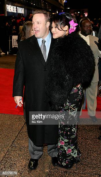 Actor Kevin James and his wife Steffiana De La Cruz arrive at the Hitch UK premiere at Odeon Leicester Square on February 22 2005 in London