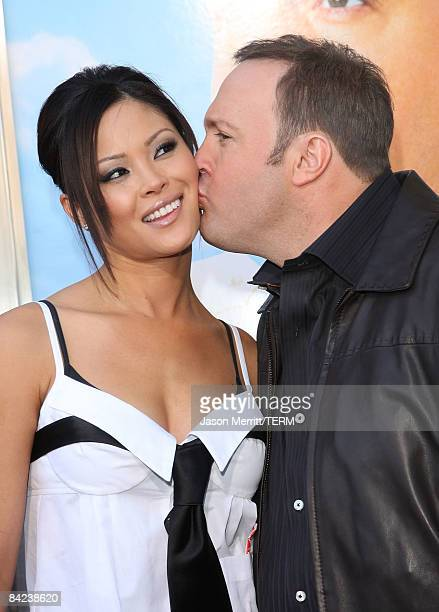 Actor Kevin James and wife Steffiana De La Cruz arrive at the premiere of Columbia Pictures' Paul Blart Mall Cop at the Mann Village Theatre on...