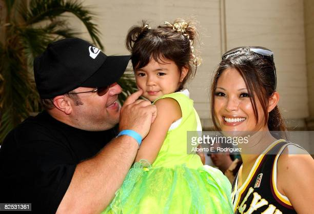 Actor Kevin James daughter SiennaMarie James and actress Steffiana De La Cruz arrive at the DVD launch of Walt Disney's Little Mermaid Ariel's...