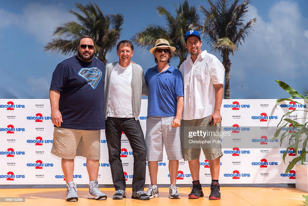 Actor Kevin James, Director Dennis Dugan and Actors David Spade and Adam Sandler attend 'Grown Ups 2' Photo Call at The 5th Annual Summer Of Sony at the Ritz Carlton Hotel on April 18, 2013 in Cancun, Mexico.