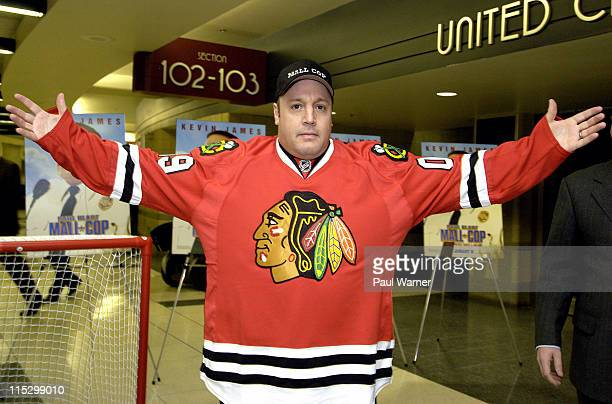 Actor Kevin James poses with his Chicago Blackhawks jersey a gift from the team at the 'Paul Blart Mall Cop' Deputy Mall Cop Tryouts at the United...