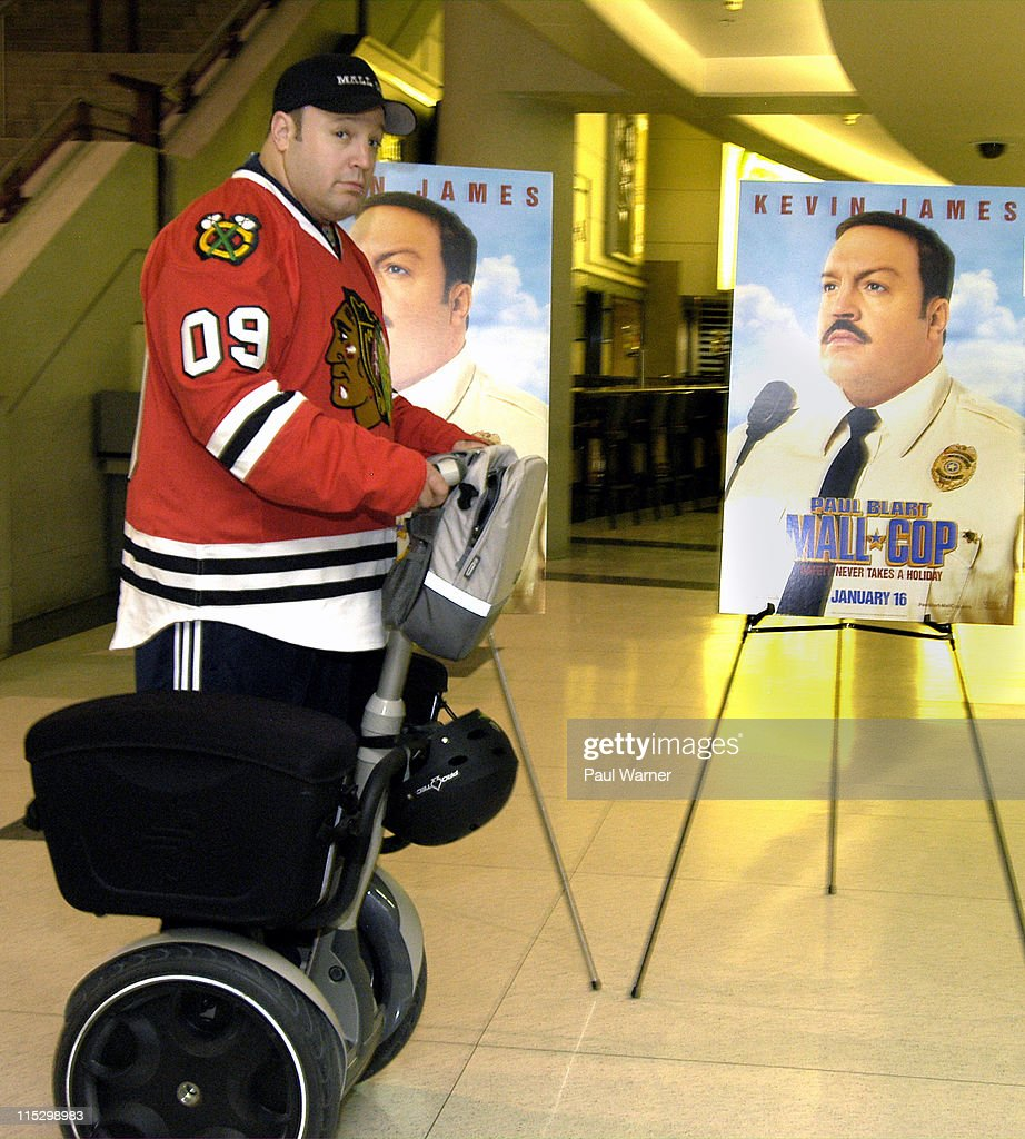 Actor Kevin James Rides A Segway Scooter At The Paul Blart Mall