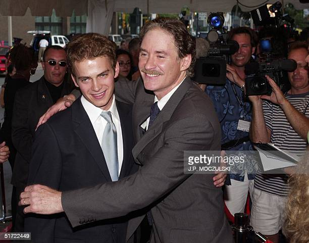US actor Kevin Kline poses with Canadian costar Hayden Christensen for the photographers as the stars arrive for the premiere of Director/Producer...