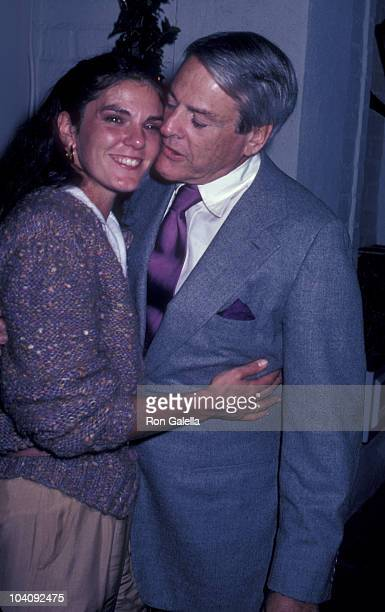 Actor Kevin McCarthy and wife Kate Crane attend the party for Ted Jewell on February 21 1981 at Chasen's Restaurant in Beverly Hills California