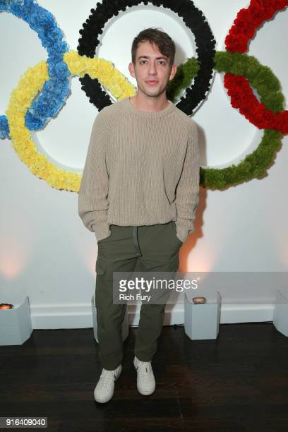 Actor Kevin McHale attends a viewing party of the Olympic Opening Ceremony hosted by the filmmakers of Icarus at the Hollywood Athletic Club on...