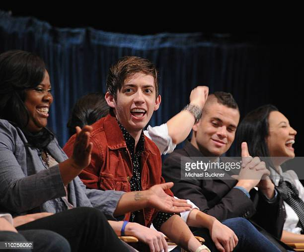 Actor Kevin McHale speaks at the Paley Center for Media's Paleyfest 2011 Event honoring Glee at the Saban Theatre on March 16 2011 in Beverly Hills...
