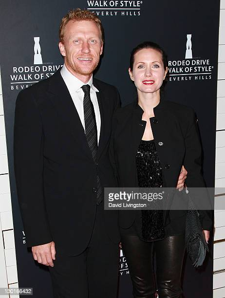 Actor Kevin McKidd and wife Jane Parker attend the Rodeo Drive Walk of Style Award event honoring Iman and Missoni on October 23, 2011 in Beverly...