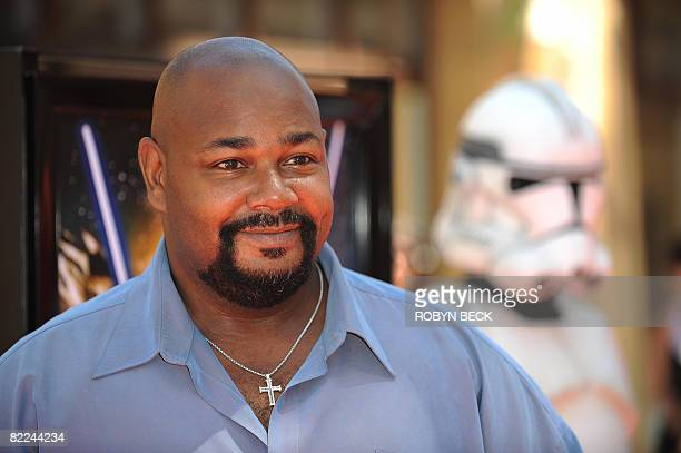Actor Kevin Michael Richardson the voice of character Jabba the Hutt in the new animated film 'Star Wars The Clone Wars' poses on the red carpet at...