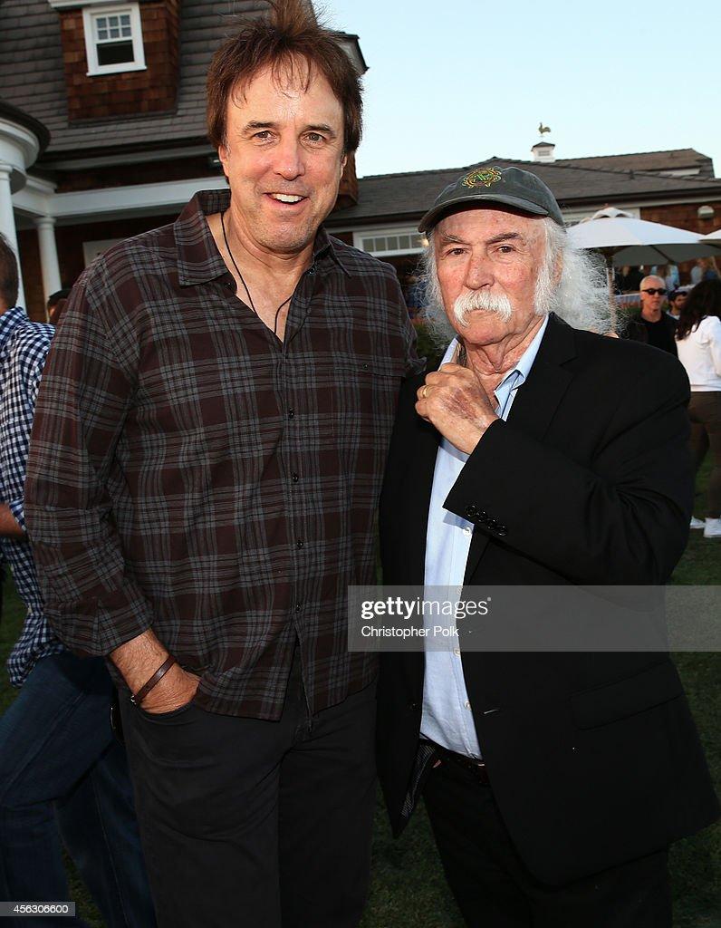 Actor Kevin Nealon and musician David Crosby attend Rock4EB, Malibu, with Jackson Browne & David Spade sponsored by Suja Juice & Sabra Hummus at Private Residence on September 28, 2014 in Malibu, California.
