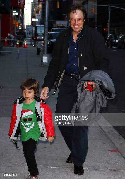 Actor Kevin Nealon and son Gable Ness Nealon arrive to Late Show With David Letterman at the Ed Sullivan Theater on December 8 2011 in New York City