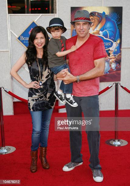 Actor Kevin Nealon his wife Susan Yeagley and son Gable Nealon arrive at the Beauty And The Beast singalong premiere and DVD release party at the El...