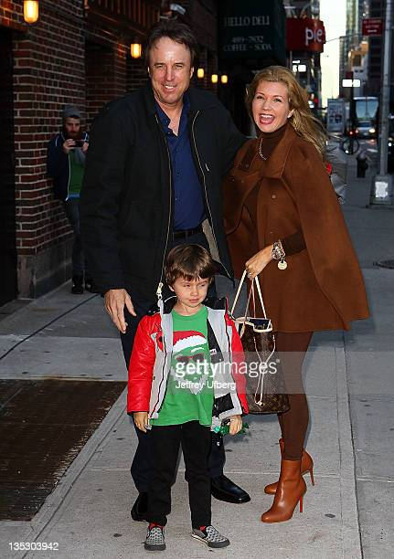 Actor Kevin Nealon son Gable Ness Nealon and wife Susan Yeagley arrive to Late Show With David Letterman at the Ed Sullivan Theater on December 8...