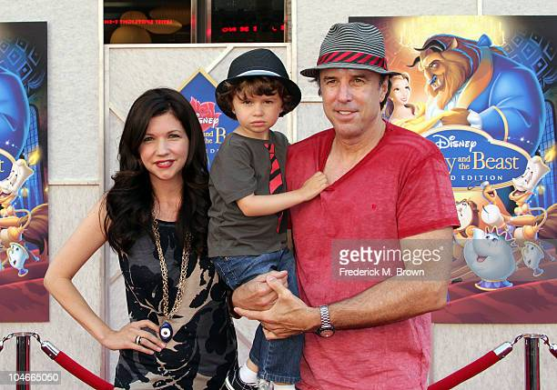 Actor Kevin Nealon wife Susan Yeagley and son Gable Nealon attend the Beauty and the Beast SingALong DVD premiere at the El Capitan theater on...